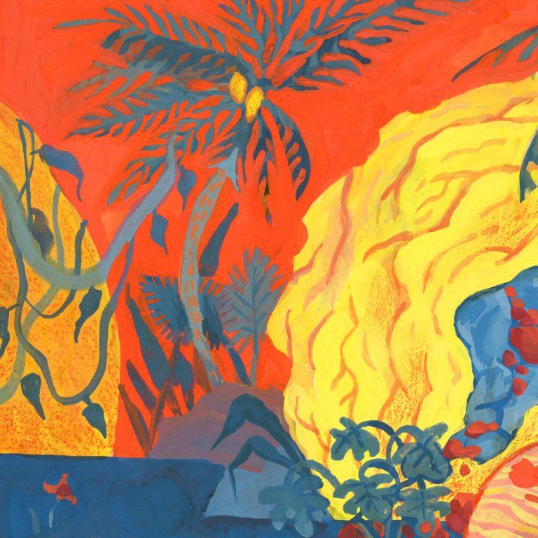 détail de la seconde illustration faite pour les 24h de l'illustration 2018 organisée par central vapeur à LISAA a strasbourg. Détail de météorites jaunes dans un paysage de jungle sur ciel rouge. fait à la gouache