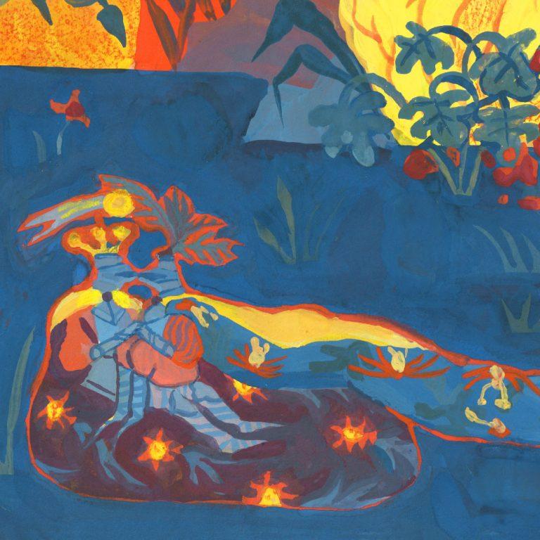 détail de la seconde illustration faite pour les 24h de l'illustration 2018 organisée par central vapeur à LISAA a strasbourg. Détail de deux chevaliers masqués s'embrassant sur l'herbe dans un paysage de jungle sur ciel rouge. fait à la gouache