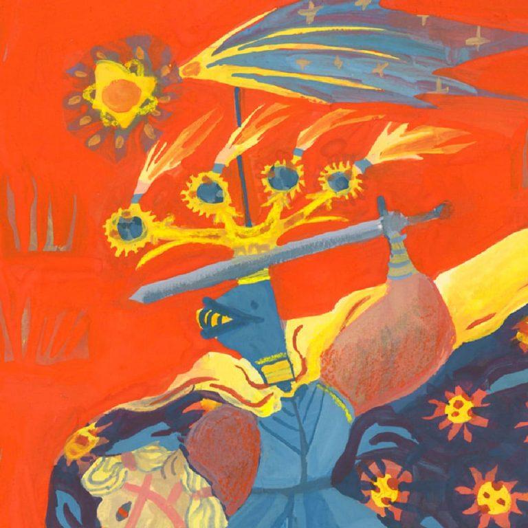 détail de la première illustration faite pour les 24h de l'illustration 2018 organisée par central vapeur à LISAA a strasbourg. Détail en gros plan d'un chevalier à couronne d'étoiles s'apprêtant à frapper de son épée dans un paysage de jungle sur ciel rouge. fait à la gouache