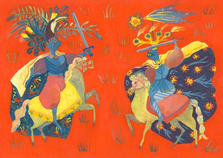 première illustration pleine page faite pour les 24h de l'illustration 2018 organisée par Central Vapeur faite à Strasbourg, LISAA. Représente en 3 couleurs faites à la gouache, jaune bleu et rouge, Deux chevaliers aux allures inspirées du grand armorial équestre (des tenues medievales très originales), se combattant sur un fond d'herbe rouge.