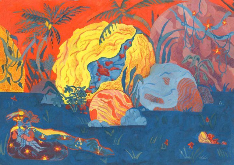 Seconde illustration pleine page faite pour les 24h de l'illustration 2018 organisée par Central Vapeur faite à Strasbourg, LISAA. Représente en 3 couleurs faites à la gouache, jaune bleu et rouge, des météorites jaunes tombées sur un sol bleu, fond rouge vif rehaussé de palmiers. Sur le devant, on voit deux chevaliers s'embrasser.