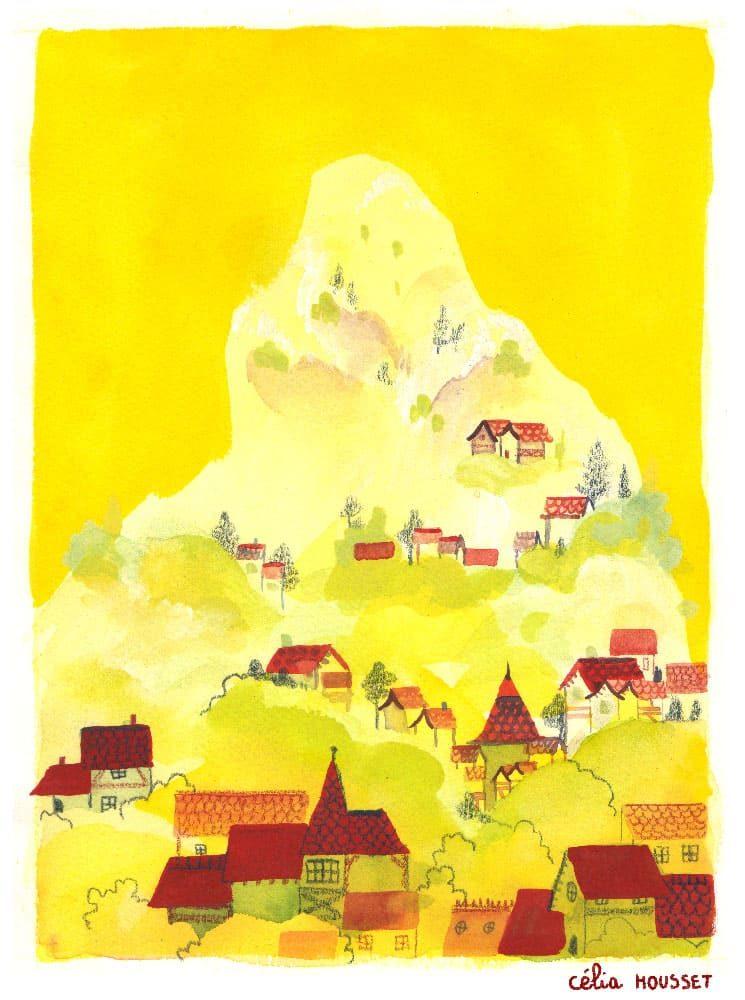 Illustration à la gouache, aquarelle et crayon de couleur d'une montagne jaune clair sur fond jaune accompagnée de petites maisons rouges qui font un village.