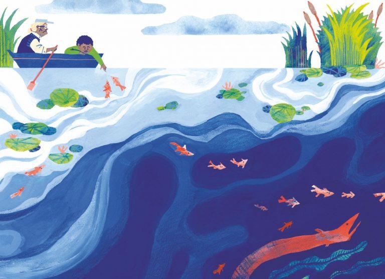 Illustration a la gouache et au crayon de couleur d'un grand père et son enfant sur une barque en train de naviguer sur la rivière. Le grand père rame pendant que l'enfant joue avec les poissons. Couleurs principales blanc bleu rouge et vert