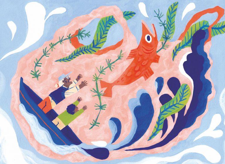 Illustration a la gouache et au crayon de couleur d'un grand père et son petit enfant sur leur barque, enfermés dans un sac plastique rose, essayant de libérer un gros poisson rouge.