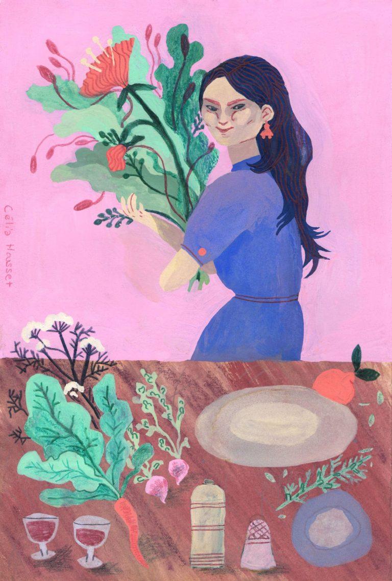 """Illustration à la gouache, aquarelle, pastel gras aquarellable et crayon de couleur sur le thème """"gourmanderies"""" sur fond rose, une table remplie d'aliments, d'épices et de légumes. Derrière, une jeune femme tient dans ses bras un énorme bouquet de fleurs, elle a une robe bleue."""