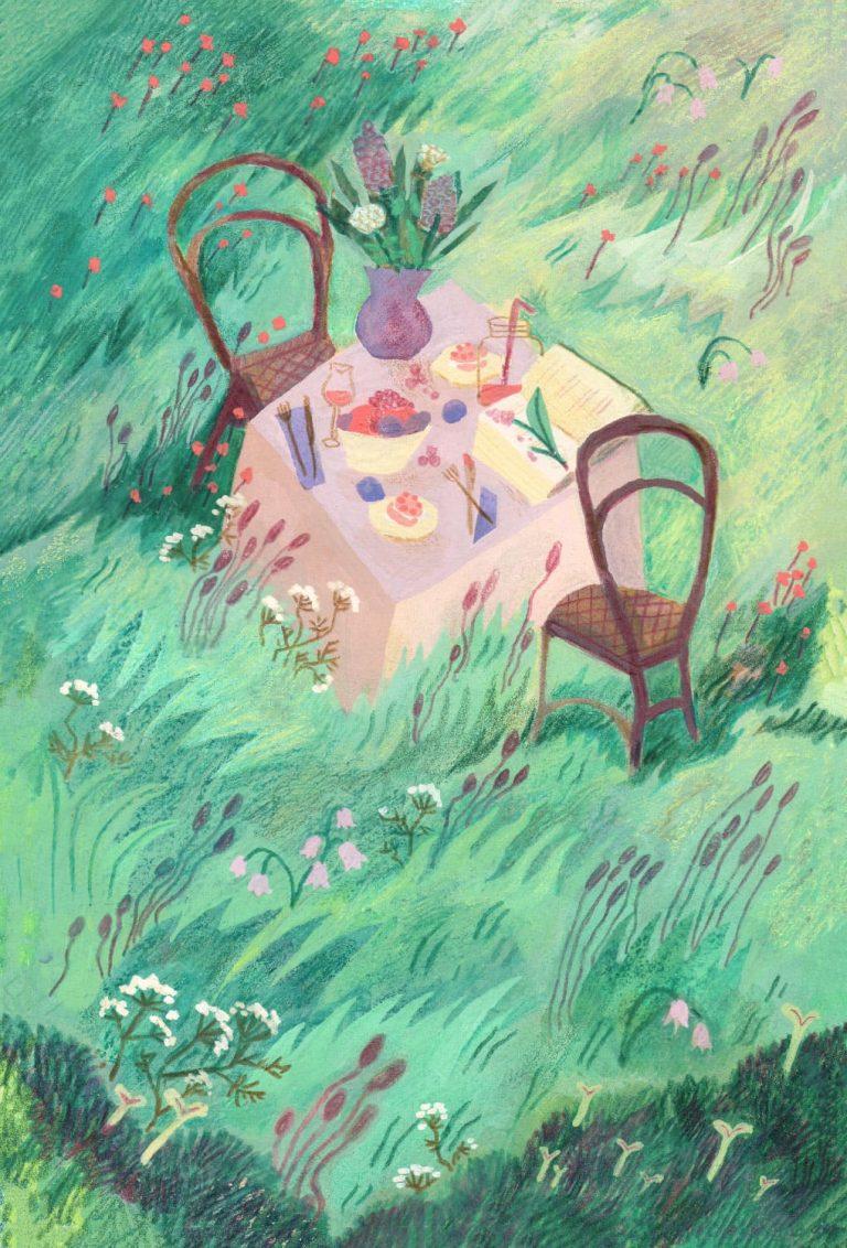 """Illustration à la gouache, aquarelle, pastel gras aquarellable et crayon de couleur sur le thème """"gourmanderies"""", illustration dans un jardin rempli d'herbes folles, une table de déjeuner rose surmontée de fruits et d'assiettes, deux chaises"""