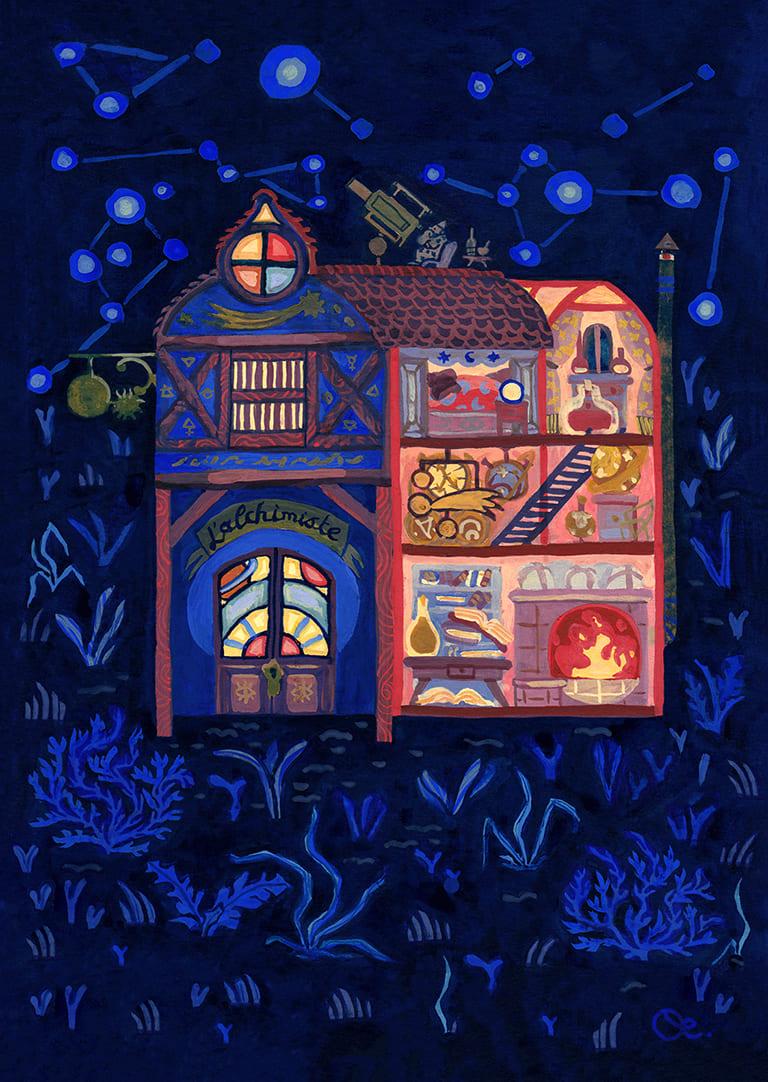 illustration d'un projet personnel de celia housset, une maison ouverte sur l'instérieur. Un alchimiste y habite. L'illustration est faite à la gouache et au crayon de couleur.