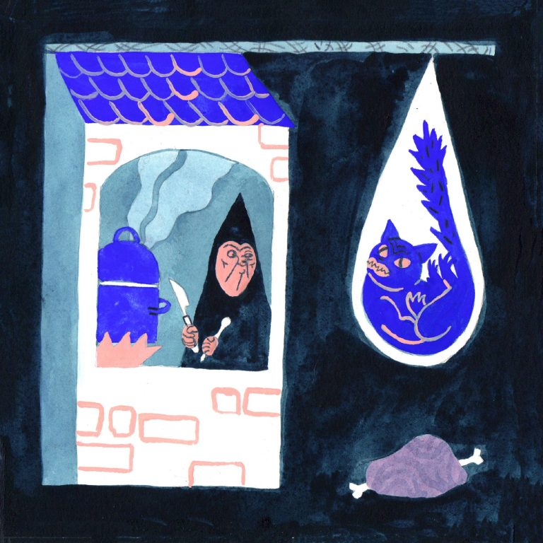 Illustration à la gouache faite en 2019 pour le challenge dessiné inktober. Une vieille personne dans une maison est en train de faire chauffer l'eau d'une marmite en regardant a l'extérieur un chat coincé dans son piège.