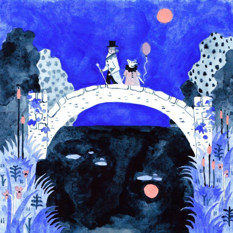 Illustration à la gouache faite en 2019 pour le challenge dessiné inktober. Sur un pont, deux personnages se posent. Il fait nuit.