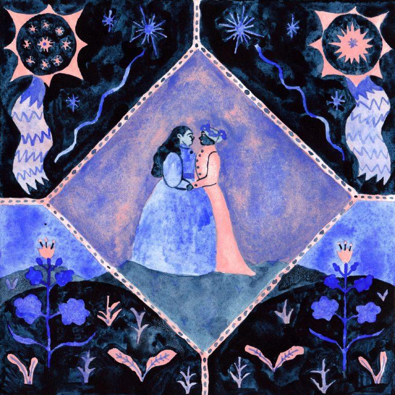 Illustration à la gouache faite en 2019 pour le challenge dessiné inktober. Deux femmes s'embrassent dans un motif de fleurs et d'étoiles.