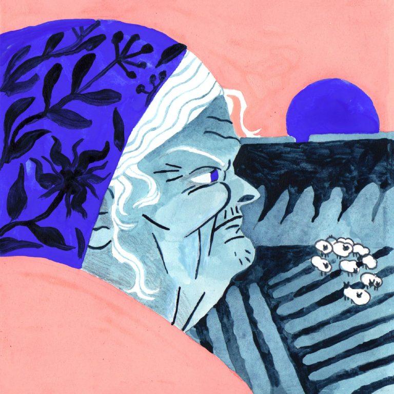 Illustration à la gouache faite en 2019 pour le challenge dessiné inktober. Une vieille dame regarde au loin le paysage d'un soleil qui se couche et un troupeau de moutons