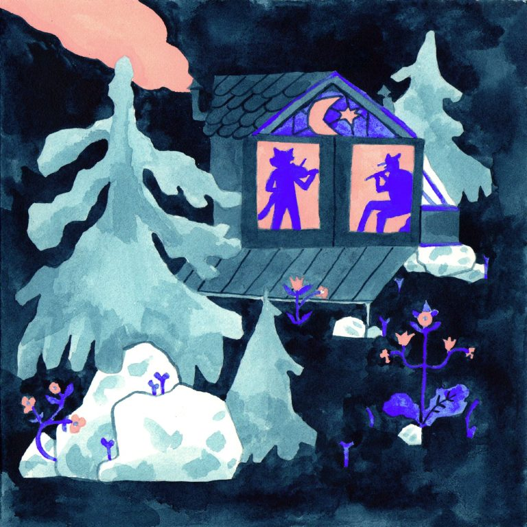 Illustration à la gouache faite en 2019 pour le challenge dessiné inktober. Une petite cabane sur fond noir est entourée de sapin. dans la cabane deux personnes sont en trian de jouer d'un instrument.