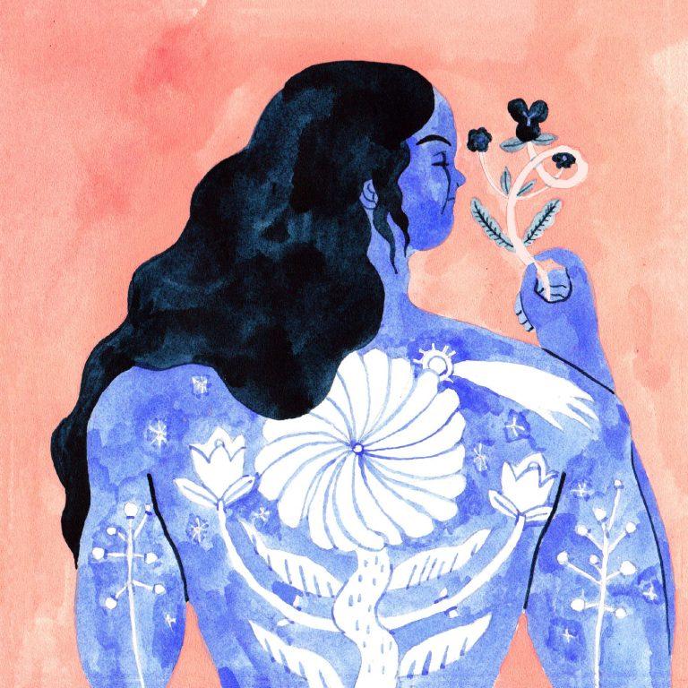 Illustration à la gouache faite en 2019 pour le challenge dessiné inktober. Une personne est en train de se retourner. elle a les cheveux longs, ondulés et la peau bleu ornée d'un tatouage blanc. Elle tient une fleur dans sa main.