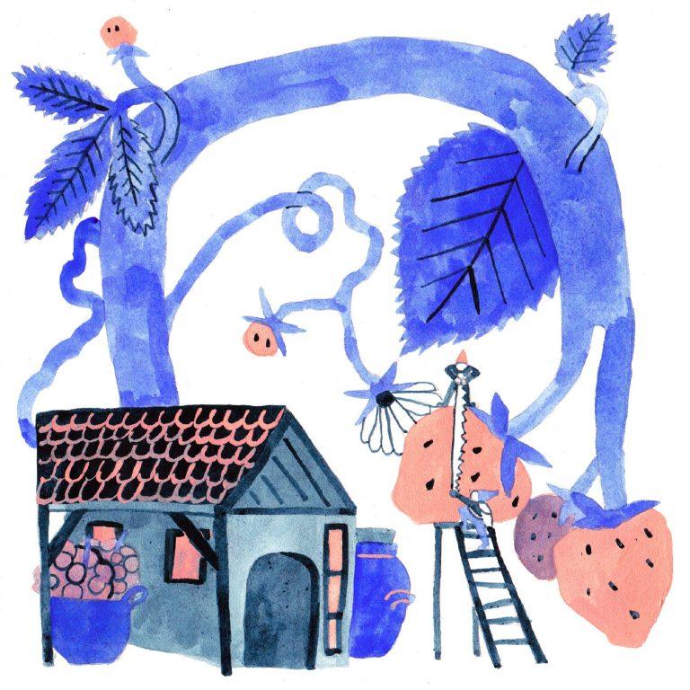 Illustration à la gouache faite en 2019 pour le challenge dessiné inktober. Une petite maison est surmontée d'un grand arbre, cet arbre donne d'énormes fraises.