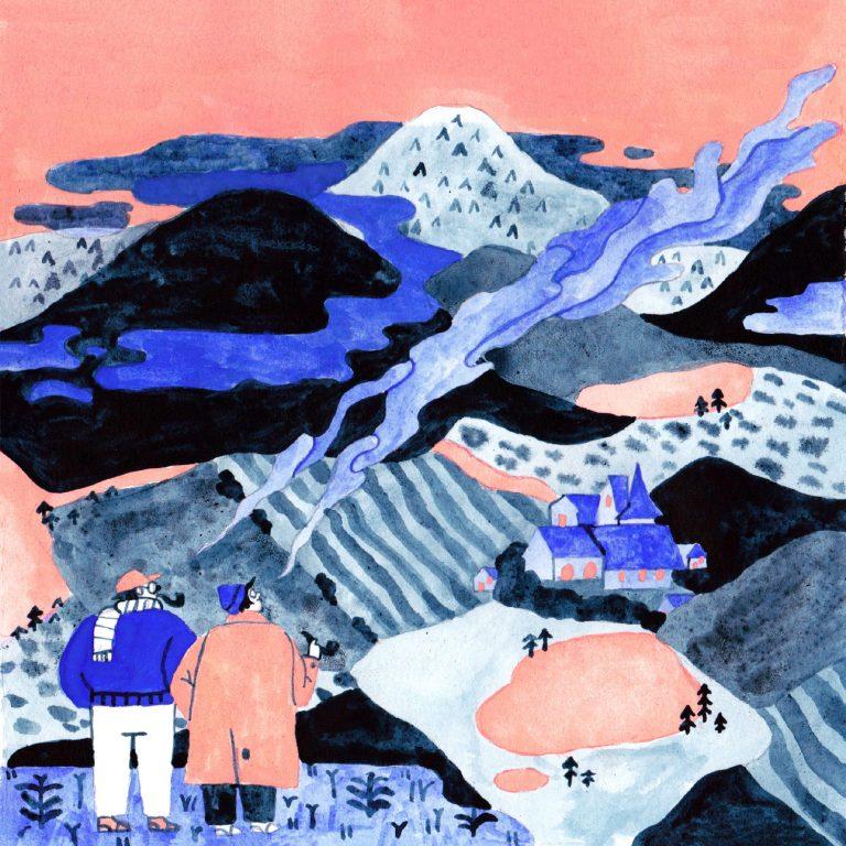 Illustration à la gouache faite en 2019 pour le challenge dessiné inktober. Deux personnes en train de fumer la pipe regardent un paysage de montagne avec un village.