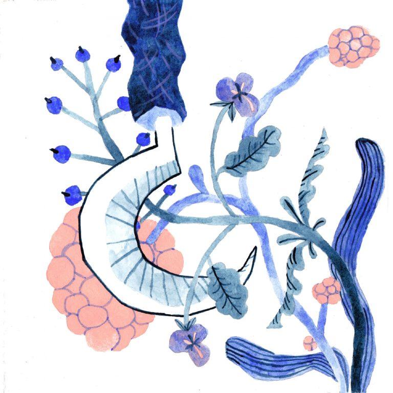 Illustration à la gouache faite en 2019 pour le challenge dessiné inktober. Une serpe à manche bleu est entourée de fleurs et de fruits.