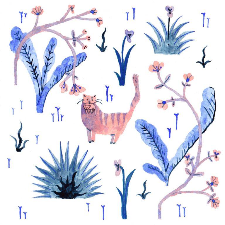 Illustration à la gouache faite en 2019 pour le challenge dessiné inktober. Sur un motif de millefleur, un petit chat garde un chaton dans sa gueule.