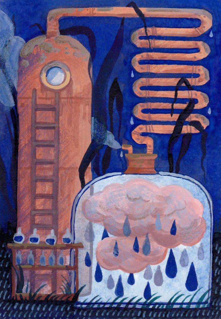 Illustration faite pour les contreparties du financement participatif nimbostratus fait à strasbourg en 2018 par celia housset christelle diale farah seddiki et MAB, représentant un alambic recréant des nuages pleins de pluie.