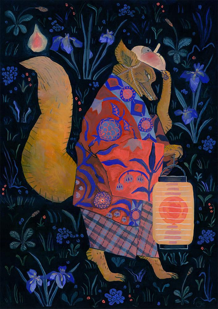 Illustration à la gouache d'un arbre renard japonais appelé Nogitsune. Fait pour l'expo Yokoso a Wesserling