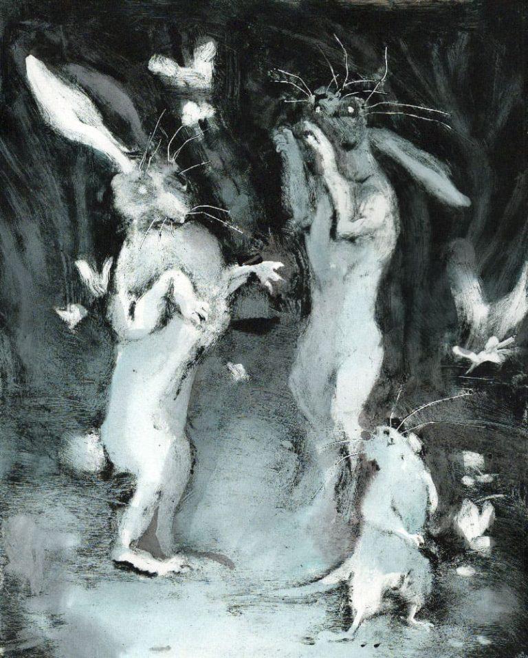 Monotype noir rehaussé d'encre bleue et noire représentant deux lapins en train de danser dans la forêt, ils sont accompagnés d'animaux qui dansent à leurs cotés. fait en 2019 à Strasbourg par célia housset