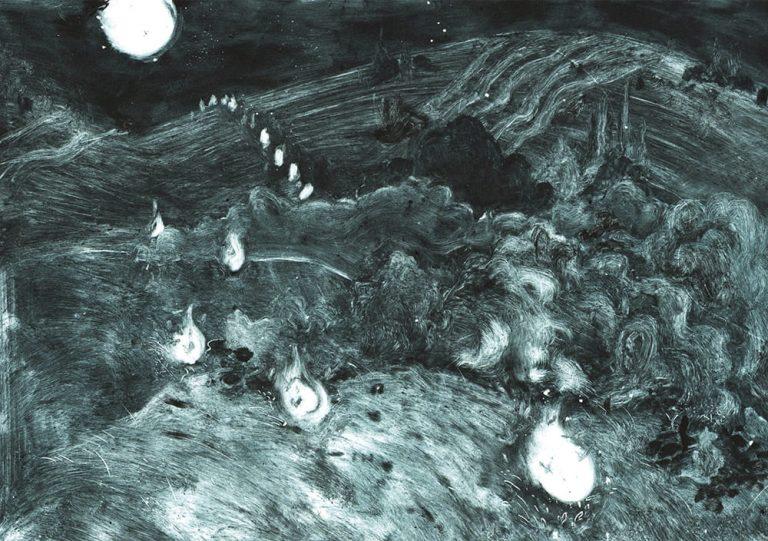 monotype en un passage représentant des feux follets volant dans la campagne. la scène se passe la nuit. encre noire mélangée avec du cyan.