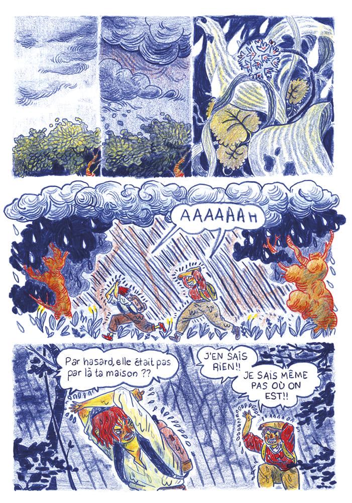 """Extrait de la bande dessinée """"l'auberge mystérieuse"""" publiées dans """"nimbostratus"""", un ouvrage publié à strasbourg en bd sur le thème de la pluie édité par célia housset en 2018"""