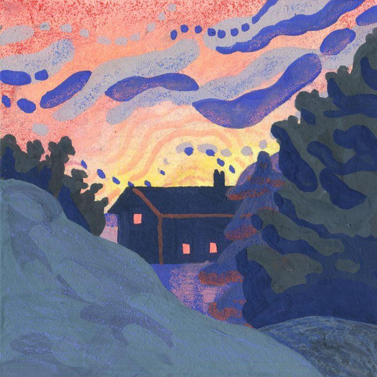 Illustration - Maison derrière les sapins - Entre chiens et loups