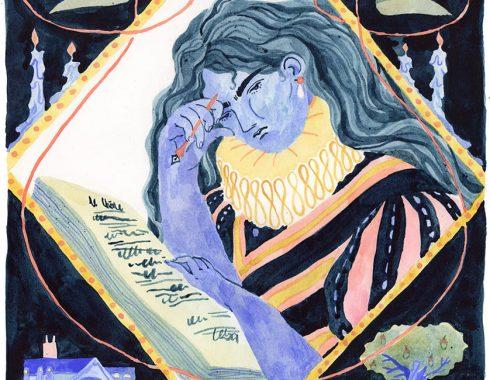 Couverture inventée du roman orlando écrit par virginia woolf. Image en bleu noir jaune et rose à l'aquarelle et à la gouache, représentant orlando devant son poème.
