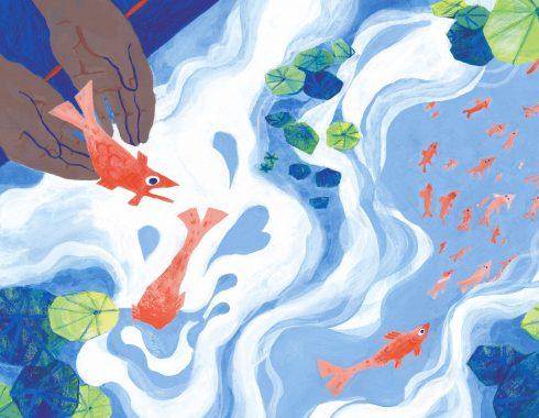 Illustration a la gouache et au crayon de couleur d'une paire de main libérant un poisson qui s'enfuit dans l'eau avec ses amis poissons. Couleurs principales, blanc bleu rouge et vert