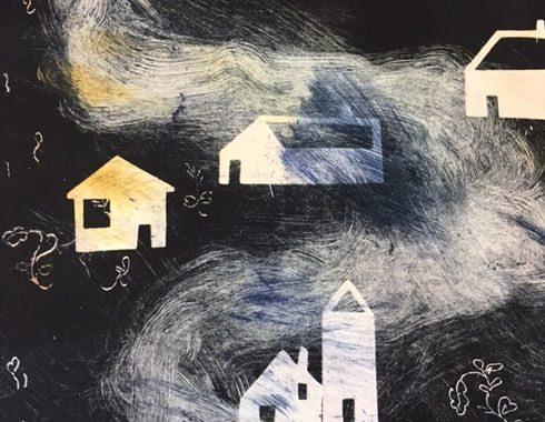 Extrait illustration en monotype avec découpages. Un chemin avec des maisons, mélanges de couleur et de noir