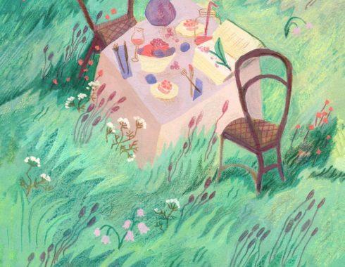 Illustration à la gouache, aquarelle, pastel gras aquarellable et crayon de couleur sur le thème