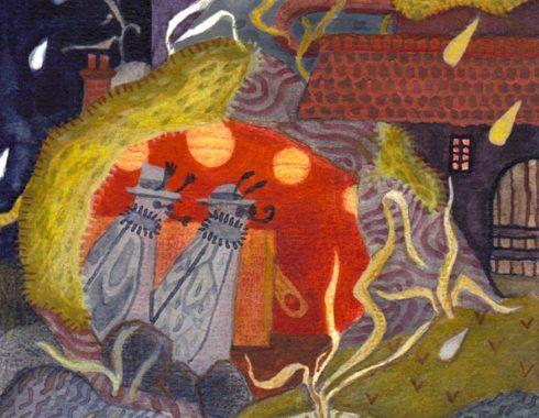 Illustration faite pour les contreparties du financement participatif nimbostratus fait à strasbourg en 2018 par celia housset christelle diale farah seddiki et MAB, représentant une grotte faite dans un tronc, il pleut dehors, deux insectes voyageurs entrent à l'intérieur de la grotte qui semble être une échoppe.