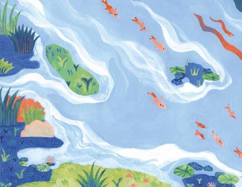 Extrait peinture à la gouache fond bleu. Un bord de rivière avec des petits poissons rouges.
