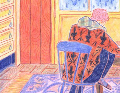 extrait de bande dessinée au crayon de couleur. Représente une personne de dos assise dans une maison.