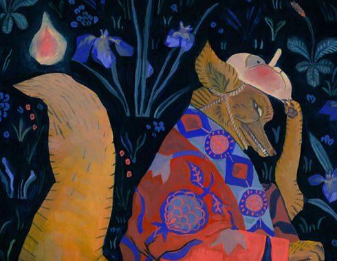Illustration peinte à la goauche d'un renard déguisé en humain. il porte un masque représentant un visage humain simplifié et un kimono à motifs alsaciens bleu et roses. Le fond est un motif de millefleur inspiré d'illustrations medievales